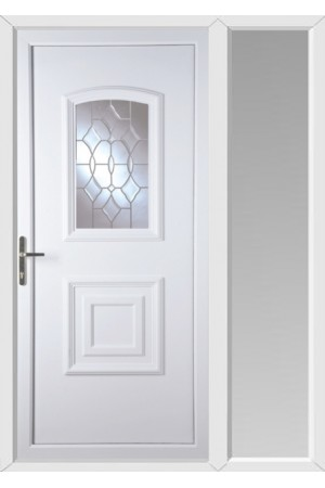 Folkestone Clear Crystal uPVC Door with One Sidelight