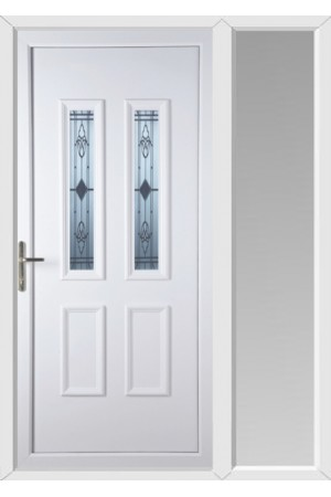 Ilkeston Sandblast Bevel uPVC Door with One Sidelight