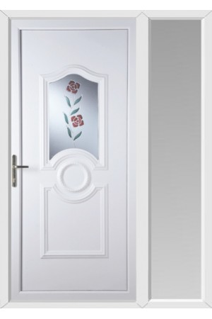 Jacobstow Clear Resin Rose uPVC Door with One Sidelight