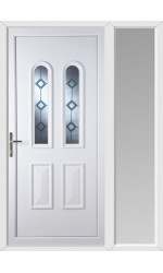 Newport Blue Border Bevel uPVC Door with One Sidelight