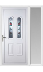 Newport Queen Anne Rose uPVC Door with One Sidelight