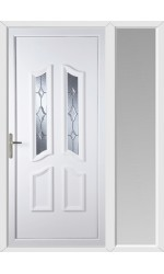 Rotherham Star Cut Bevel uPVC Door with One Sidelight