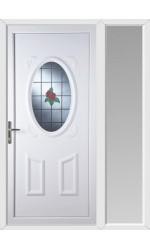 Swansea Single Rose uPVC Door with One Sidelight