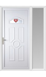 Viewpark Red Jewel uPVC Door with One Sidelight