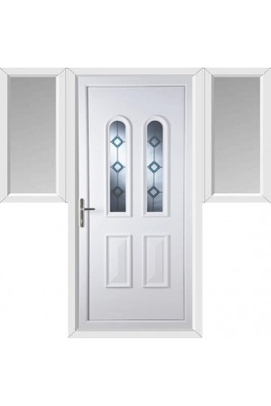 Newport Blue Border Bevel uPVC Door with Two Flags