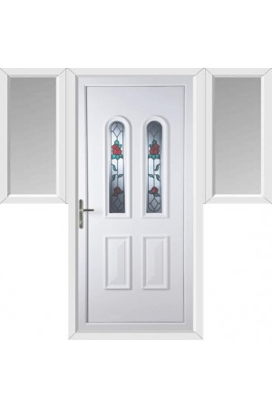 Newport Queen Anne Rose uPVC Door with Two Flags