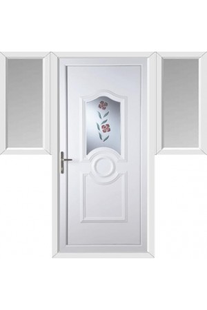 Jacobstow Clear Resin Rose uPVC Door with Two Flags