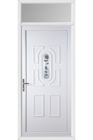 Colchester Single Rose uPVC Door with Toplight