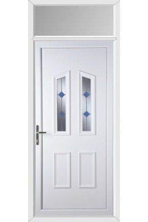 Darlington Blue Stud uPVC Door with Toplight