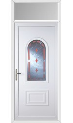 Ellesmere Port Red Diamond uPVC Door with Toplight