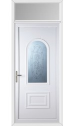Ellesmere Port Rose Sandblast uPVC Door with Toplight
