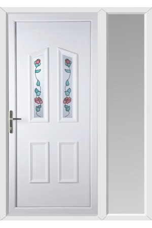 Darlington Climbing Rose uPVC Door with One Sidelight