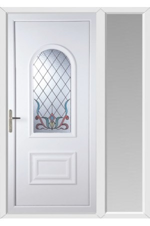 Ellesmere Port Scroll uPVC Door with One Sidelight