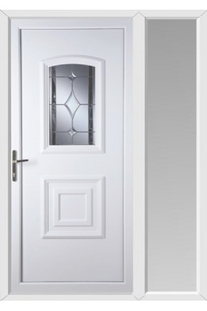 Folkestone Bevel Border uPVC Door with One Sidelight