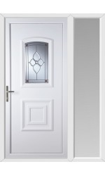 Folkestone Crystal Pearl uPVC Door with One Sidelight