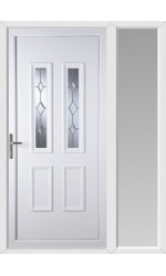 Ilkeston Star Cut Bevel uPVC Door with One Sidelight