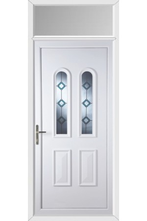 Newport Blue Border uPVC Door with Toplight