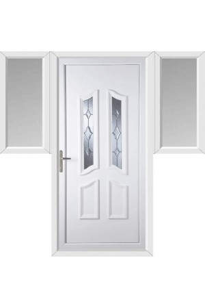 Rotherham Star Cut Bevel uPVC Door with Two Flags