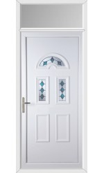 Blackburn Blue Jewel uPVC Door with Toplight