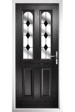 The Aylesbury Black Composite Door with Black Diamonds
