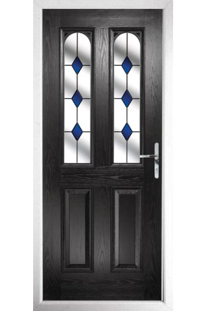 The Aylesbury Black Composite Door with Blue Diamonds
