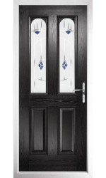The Aylesbury Black Composite Door with Blue Murano