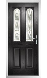 The Aylesbury Black Composite Door with Brass Art Clarity