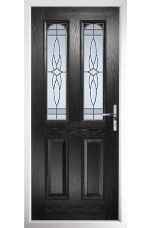 The Aylesbury Black Composite Door with Crystal Harmony Frost