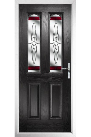 The Aylesbury Black Composite Door with Red Crystal Harmony
