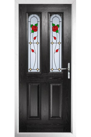 The Aylesbury Black Composite Door with English Rose