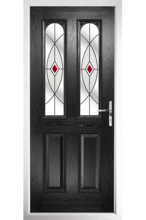 The Aylesbury Black Composite Door with Red Fusion Ellipse