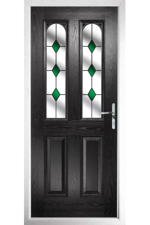 The Aylesbury Black Composite Door with Green Diamonds
