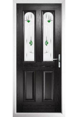 The Aylesbury Black Composite Door with Green Murano
