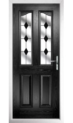 The Berkshire Black Composite Door with Black Diamonds