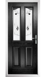 The Berkshire Black Composite Door with Black Murano