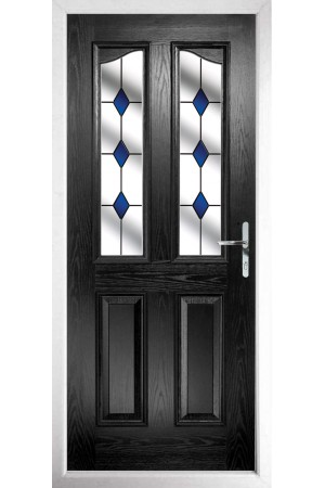 The Berkshire Black Composite Door with Blue Diamonds