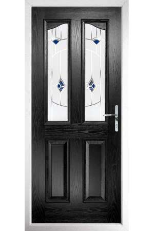 The Berkshire Black Composite Door with Blue Murano