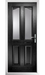 The Berkshire Black Composite Door with Clear Glazing