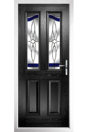The Berkshire Black Composite Door with Blue Crystal Harmony