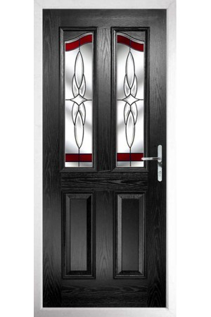 The Berkshire Black Composite Door with Red Crystal Harmony