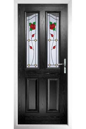 The Berkshire Black Composite Door with English Rose