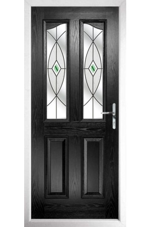 The Berkshire Black Composite Door with Green Fusion Ellipse