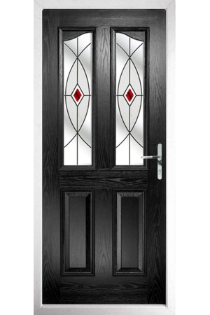 The Berkshire Black Composite Door with Red Fusion Ellipse