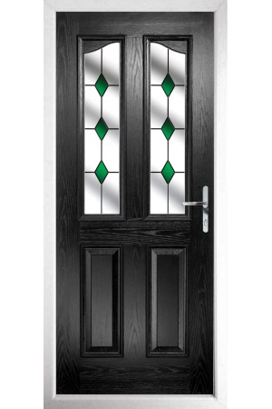 The Berkshire Black Composite Door with Green Diamonds