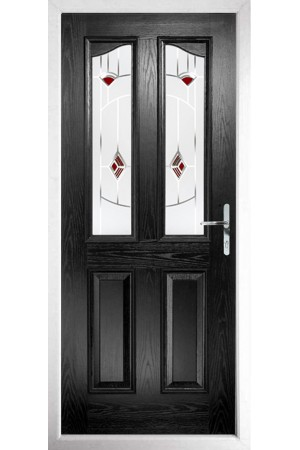 The Berkshire Black Composite Door with Red Murano