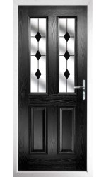 The Cheshire Black Composite Door with Black Diamonds