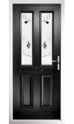 The Cheshire Black Composite Door with Black Murano