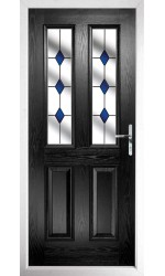 The Cheshire Black Composite Door with Blue Diamonds