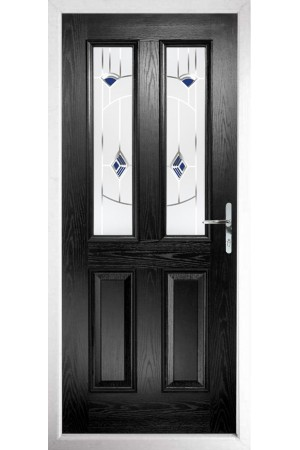 The Cheshire Black Composite Door with Blue Murano