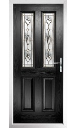 The Cheshire Black Composite Door with Brass Art Clarity